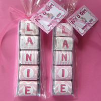BABY SHOWER FAVOR, candy name,baby girl favor, Hershey nugget,chocolate wrappers, bags, and tags included