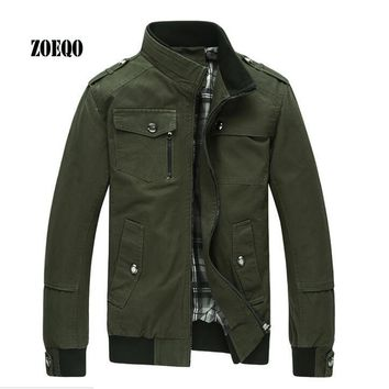 Trendy ZOEQO Spring Jacket men High quality male stand collar flight air force jacket autumn  cotton mens jackets and coats AT_94_13