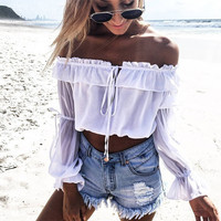White Tops Shirt Crops [9818993997]