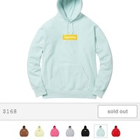 Ice Blue Supreme Box Logo Hoodie Size Medium