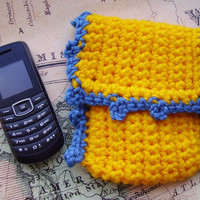 Yellow Cell Phone/Tissue Case, with Blue Hem, Crochet