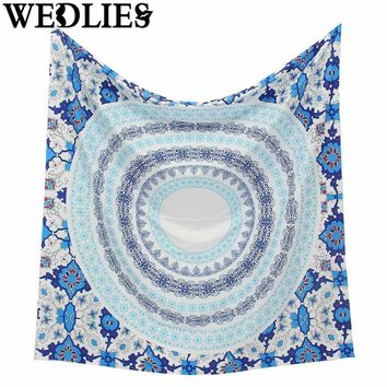 Indian Mandala Tapestry 145x145cm Polyester Throw Blanket Mat Rug Wall Hanging Bohemian Bedspread Dorm Decor Home Textiles