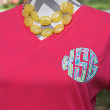 Women's Monogram T-shirt - Monogram Shirt - Womens Tshirt - Monogram V Neck - Gift for Mom - Birthday Gift For Her