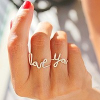 "CIShop Set of 2pcs Romantic Handmade ""LOVE YOU"" Stack Plain Above Knuckle Rings Mid Finger Rings"