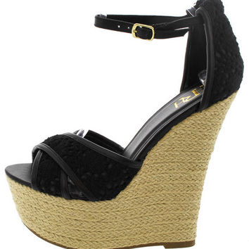 GLADYS01 BLACK CROCHET ESPADRILLE WEDGE