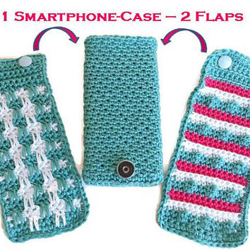 Iphone-, Smartphone-, mobile phone pocket with changeable flaps, crocheted, Samsung Galaxy S3, S4, S5 and Iphone 5