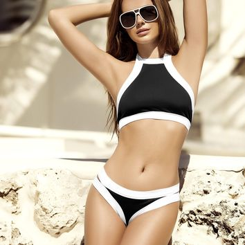 Sporty Black and White Halter Bikini