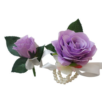 Corsage & Boutonniere Set-Pick Rose Color