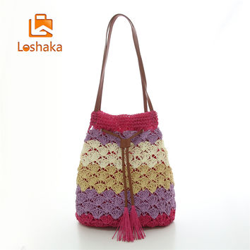 Fashion Woven Sector Pattern Shoulder Bags Straw Summer Women Weave Crossbody Burlap Jute Pouches Beach Travel Handbag Loshaka