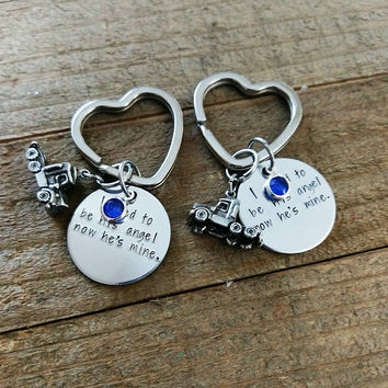 I used to be his angel now he's mine keychain - Keepsake Truck Driver keychain - Sympathy Gift