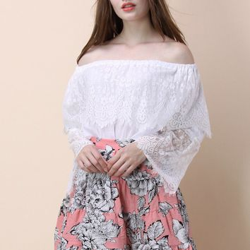 Awe About Lace off-shoulder Top