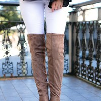Happier Taupe Over the Knee Boots