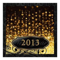 Dazzling New Year's Eve Gold Party Invitations from Zazzle.com