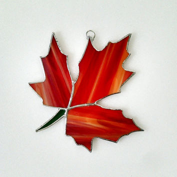 Fall Leaf Stained Glass Suncatcher - Autumn Suncatcher - Fall Decor - Autumn Decor - Thanksgiving Decor - Red Glass