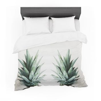 """Chelsea Victoria """"Two Pineapples"""" Green Gold Featherweight Duvet Cover"""