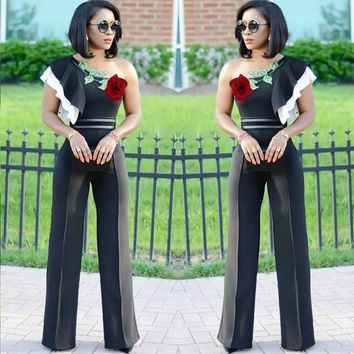 Womens Cold Shoulder Zipper Playsuit Embroidery Flowers Casual Bodysuit Jumpsuit