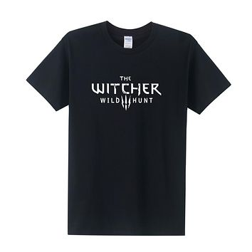 The Witcher Summer Style Men Cotton Short Sleeve O-neck T-Shirt  Wild Hunt T Shirts Men Clothing Tops