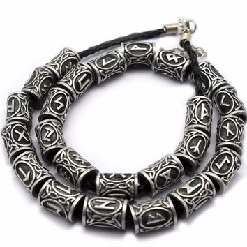 1pc Silver Norse Viking Runes Charm Beads Findings for Bracelets for Pendant Necklace DIY for beard or hair Real Photoes
