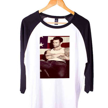 Adam Levine awesome pict Short Sleeve Raglan - White Red - White Blue - White Black XS, S, M, L, XL, AND 2XL*AD*