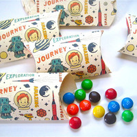 Pillow Boxes with Vintage/Retro Childrens Space Astronaut Robot Design, Set of 12