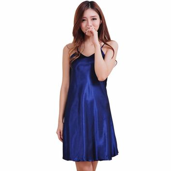 Women Ladie Sexy V Neck Satin Silk Lingerie Nightgowns Sleepwear Home Mini Night Dress Babydoll Robe Nightwear chemise de nuit