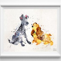 Lady and Tramp, Lady and the Tramp Print - Artwork Print | Inkist Prints | Inkist Prints