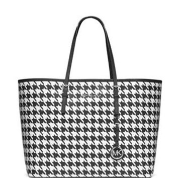 Michael Michael Kors Medium Jet Set Houndstooth Print Travel Tote