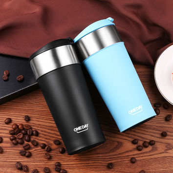 400ml Coffee Tumbler Stainless Steel Mug Coffee Bottle ThermoMug Insulated Thermal Mugs Auto Car Heating Tea Milk Travel Tumbler