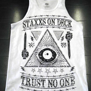 TRUST NO ONE TANK WHITE $22