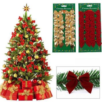Sale 12 Pcs/set New Xmas Bowknot Ornament Party Hanging Decoration Wedding Festival Christmas Tree Decor