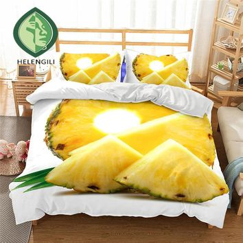 77349b4d0f72 Cool 3D Bedding Set Pineapple Print Duvet cover set Twin queen k