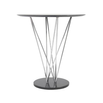 Stacy Bar Table in Ebony with Chromed Steel Column and Black Marble Base