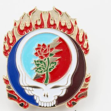Skull Rose and Flames Grateful Dead Pin