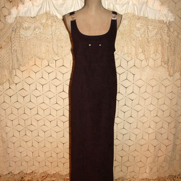 Dark Purple Long Jumper Maxi Dress 90s Hippie Grunge Large XL Casual Overall Dress Ultrasuede Eggplant Vintage Clothing Womens Clothing