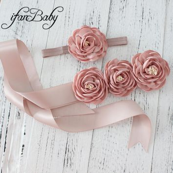 Fashion women belt ,girl flower sash belt,wedding sash ,flower Sash belt matching burn fabric flower headband 1 SET