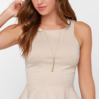 Proper Party Beige Peplum Top