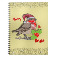 Cute Festive and Sparkly Robin Red-Breast Spiral Note Book