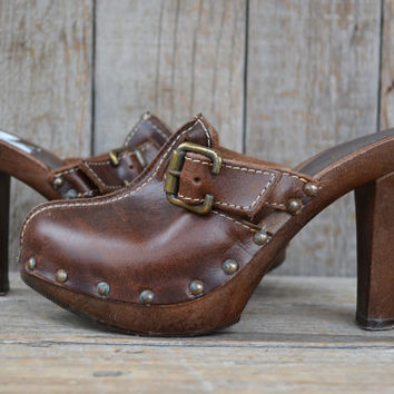 Vintage Brown Studded Leather Clog Style Slip On Heel's, 6