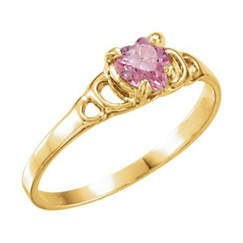14K Yellow Gold Pink Heart Cubic Zirconia Youth Ring