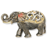 Enameled & Crystal Grey Elephant Trinket Box