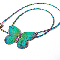 Butterfly necklace - blue butterfly - green butterfly - butterfly pendant - brass butterfly - pendant necklace, seed bead necklace