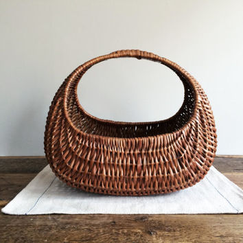 Vintage Wicker Basket, Flower Basket, Garden Basket, Woven Basket