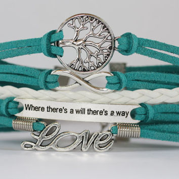 TREE~ Tree of Life, Infinity, Where There's a Will, Love Bracelet, Teal Suede Bracelet, Multi Strand Bracelet, Turquoise, ilovecheesygrits