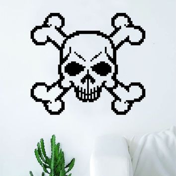Pixel Skull Decal Sticker Wall Vinyl Art Wall Bedroom Room Home Decor Teen Inspirational Teen Kids Video Game Gamer Gaming Nerd Geek