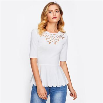 Laser Cut Neck Scallop Hem Round Neck Half Sleeve Textured Peplum Blouse