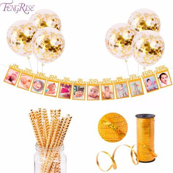 Gold 1st Birthday Birthday Party Decor Supplies with Balloons
