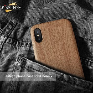 KISSCASE Original Wooden Skin PU Leather Case For iPhone 6 6s 7 8 Plus Soft Cover For iPhone X 5 5S SE Ultra Thin Luxury Shells