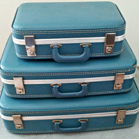 Vintage Aqua Blue Suitcase Set - Travel Trio - Shabby Chic for Display or Adventures