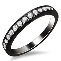 1/2ct Round Pave F Diamond Wedding Band Ring 18k Black Gold Rhodium Plating Over White Gold