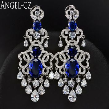 ANGELCZ European Luxury Bridal Chandelier Drop Long Earrings Dark Blue Cubic Zirconia Vintage Women Large Wedding Jewelry AE015